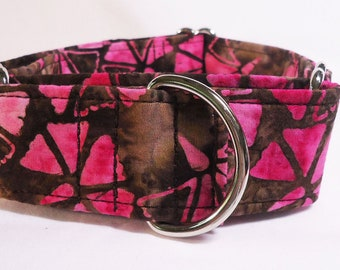 Pink and Brown Batik Sighthound Greyhound, Whippet, Dog, Galgo Martingale Collar