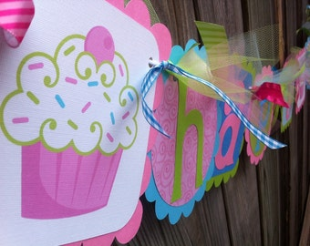 Cupcake HAPPY BIRTHDAY Banner in PInk, Lime & Light Turquoise