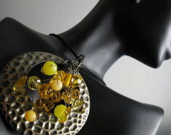 Yellow Pendant Necklace. BUTTERCUP. Beaded Wire Tendrils with Antique Brass Tone with Black Satin Cord