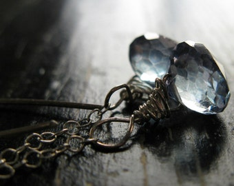 WISTERIA. blue mystic quartz onion briolette and lightly oxidized sterling silver earrings