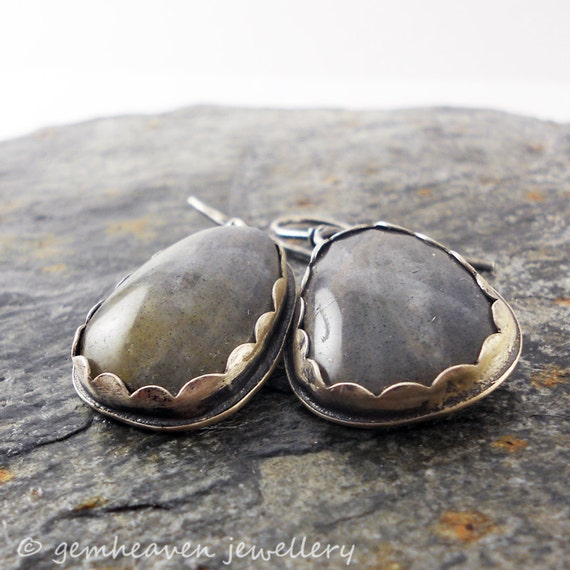 Sterling silver and Labradorite Drop earrings - Storm Cups -