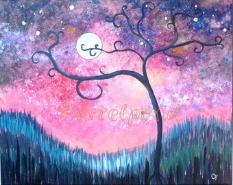 Modern art, Curly tree with moon and stars 16x20 large original acrylic painting