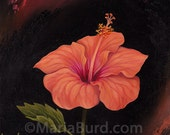Coral Bermuda Hibiscus - Original Oil Painting on Wood 8x8