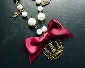 Classic Lolita Ribbon Crown Necklace in Burgundy, Royal Purple, Navy, and Sky Blue - atelierangel