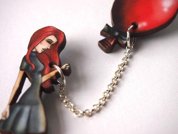 Red Balloon Girl 2 Part Laser Cut Wood Brooch
