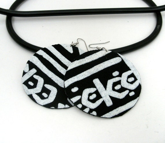 black and white mudcloth medium size round fabric earrings