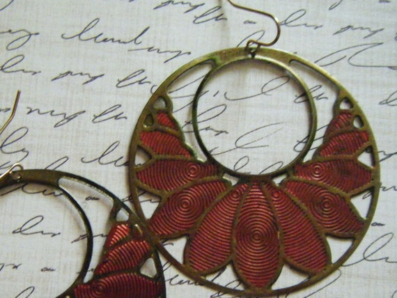 Red Patina Hoop Earrings/FREE SHIPPING