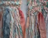 Knit scarf, women's soft multicolor long winter chunky fashion, merino wool silk purple pink peach teal blue lavender i967