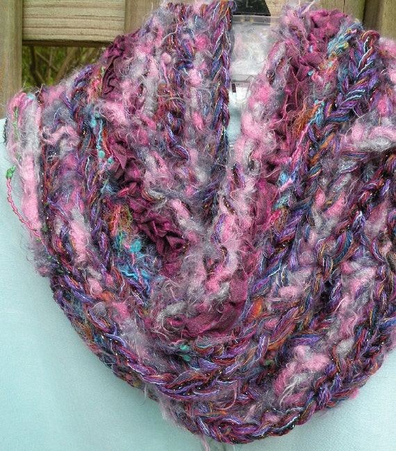 Knit scarf: Limoges women's fashion crochet multicolor silk wool sparkly fuzzy scarf, purple pink blue lavender teal green warm winter i851