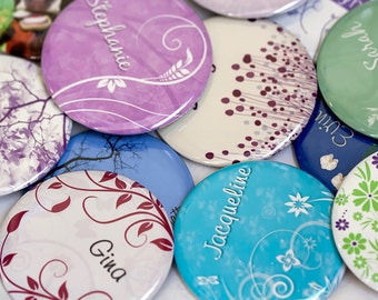10 Personalized Pocket Mirrors, Bridesmaid Gift, Wedding Favor, mix and match or all one style..... you choose