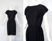 Vintage 1940s Dress / Black Cocktail Dress / 40s Dress / Small S