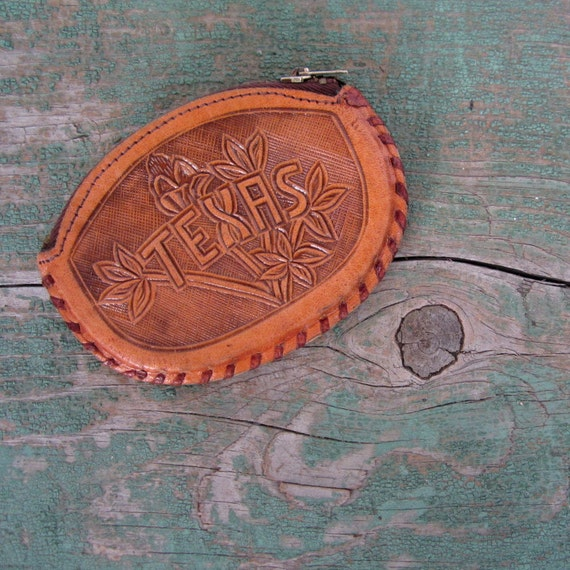 Vintage Tooled Leather Coin Purse / Texas Rose / Cowgirl Purse