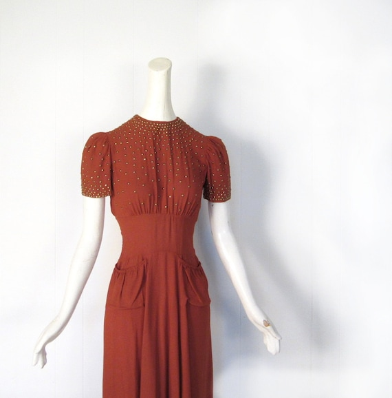 Vintage 1930s Dress / 30s Dress / Pumpkin Crepe / Studded Dress / XS