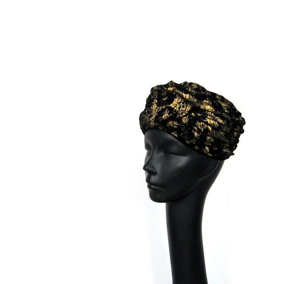 60s Turban Hat / Black Velvet Hat / Mr. John Hat / Black and Gold