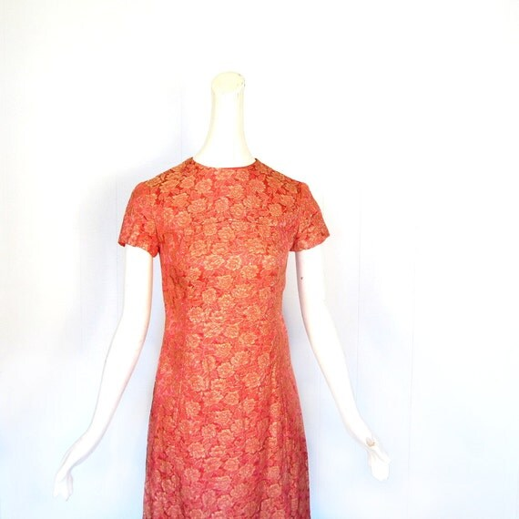 60s Brocade Dress / Vintage 1960s Dress / Red Satin Dress / XS