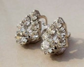 Vintage Rhinestone earrings clip on MAD MEN style