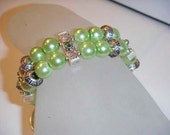 Two Layer Green Pearl and crystal bracelet 7.5 inches emerald toggle