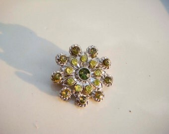 Vintage Silver flower brooch with Green Rhinestones