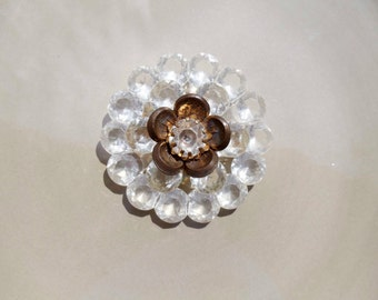 Vintage Clear acrylic brooch with Gold flower in center