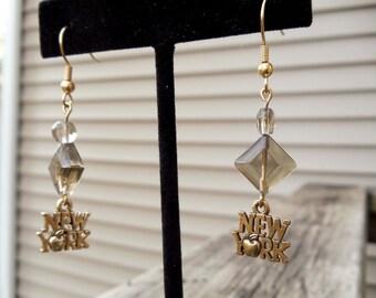NEW YORK  gold Dangle Earrings Brown Bead