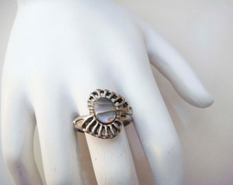 Vintage Silver Mother of Pearl Ring adjustable band