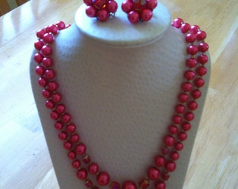 1950s Double strand fuchsia necklace and earring set made in Japan