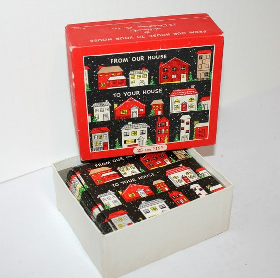 Boxed Vintage Christmas Cards Vintage Box 25 Christmas Cards