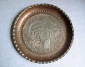 Ornate Heavy Old Copper Persian Tray
