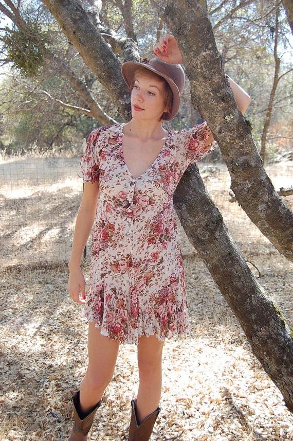 Baby Doll Dress Vintage Cream Rose Floral Print Sheer Boho Grunge Baby Doll Mini Dress (s m)