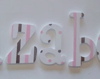 Pink and Brown Glitter Nursery Wall Letters