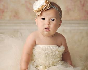 Cream Baby tutu, wedding flower girl tutu { Classic cream } off white vinatge shabby Tutu satin bow holiday spring photography prop