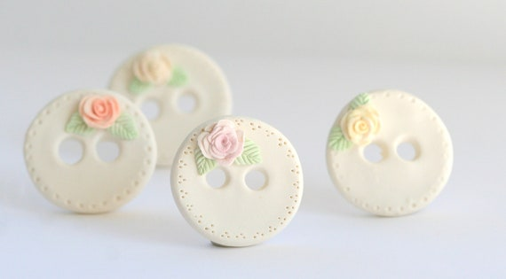 Pastel Roses-- Polymer Clay buttons set of four