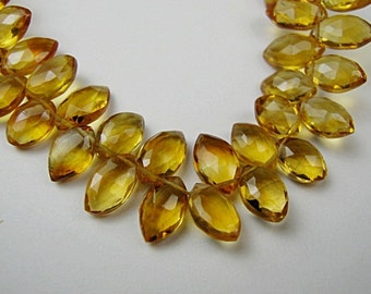 Citrine Gemstone, Faceted MARQUISE Briolette,  9-10mm. Semi Precious Gemstone. Packet of 2.  (JCT1) SALE - Was 6.60