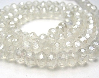 Crystal Quartz Gemstone. Mystic, Faceted Rondelles, 4mm. Semi Precious Gemstone.  Your Choice Strand ... (fcry)