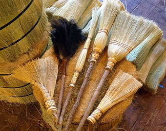 The Kitchen Witch Spring Cleaning Set In All Natural Broomcorn - Kitchen Broom, Witch Besom, Whisk, Turkey Wing, Cobweb Broom and Duster