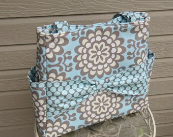 On Sale Diaper Bag or Tote in Wall Flower in Sky and Full Moon Polka Dot in Slate by Amy Butler