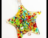 Glassworks Northwest - Lots of Colors Happy Star - Fused Glass Suncatcher or Ornament