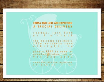 BABY CARRIAGE ...Custom Printable Baby Shower Invitation...by KM Thomas Designs