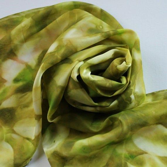 Silk Scarf - Olive - Hand Painted Ladies Scarves Green Tan Kelly Leaves Leaf Avocado