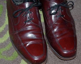 60s FLORSHEIM Wide Men's Derby Shoes. Reddish - Brown Leather  9  3E