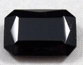 Vintage Octagonal Jet Black Glass Jewel or Stone, 25X18 mm