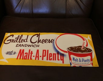 VINTAGE NOS Grilled Cheese Malt A Plenty Paper Advertising Poster