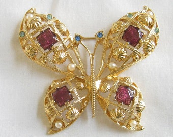 Beautiful Vintage Signed Avon Butterfly Brooch