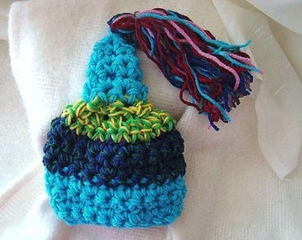 Pixie hat, CROCHET PATTERN, Multicolor Pixie Tassel  hat num 422,   newborn to adult, permission to sell your finished hats