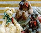 Primitive Teddy Bear Doll Pattern Folk Art Antique Bears