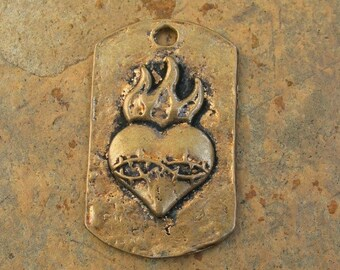 Bronze Heart with Flame Tag Pendant