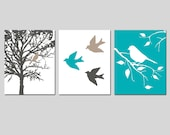 Nature Art Prints Bird Decor Wall Art Trio - Set of Three Prints - CHOOSE YOUR COLORS - Shown in Gunmetal Gray, Taupe, Teal and More