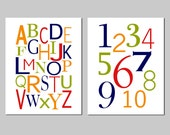 Alphabet and Numbers - Set of Two 8x10 Prints - Kids Wall Art for Nursery or Bedroom - Choose Your Colors