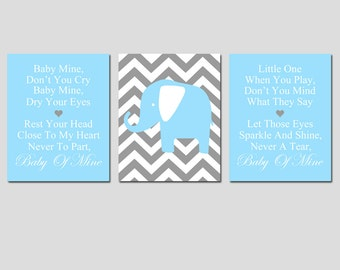 Baby Mine Chevron Elephant - Set of Three 8x10 Nursery Art Prints -  Dumbo Song Lyrics - CHOOSE YOUR COLORS - Shown in Gray, Baby Blue