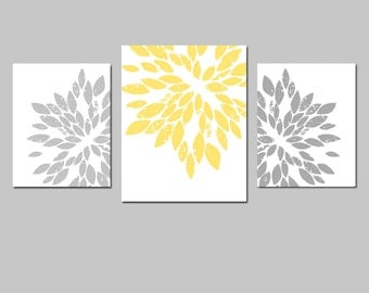 Modern Abstract Floral Trio - Set of Three Prints - 11x14 and 8x10 - CHOOSE YOUR COLORS - Shown in Yellow, Gray, Red, Baby Blue, and More
